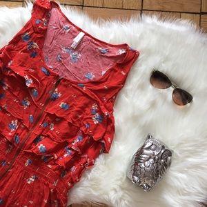 Exhilaration HiLo Floral Ruffle Zipper Front Dress